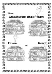 English Worksheets: preposition (on,in under,behind) sakura