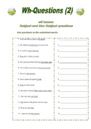 Wh Questions (2) Esl Worksheet By Anatavner Integrity And Printable Question Answer Worksheets Wh Question Worksheets Printable #6