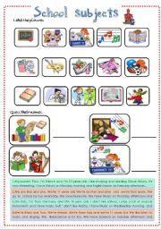 English Worksheet: SCHOOL SUBJECTS . LIKE - DISLIKES
