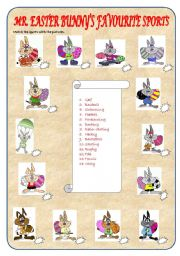 English Worksheet: Mr. Easter Bunny�s Favourite Sports