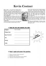 English Worksheets: Simple Past Reading Comprehension exercise about Kevin Costner