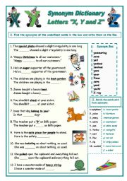 English Worksheet: Synonym Dictionary, Letters X, Y and Z