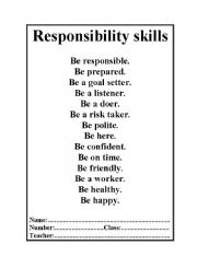 English worksheet: Responsibility skills