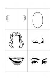 English Worksheet: face flashcards
