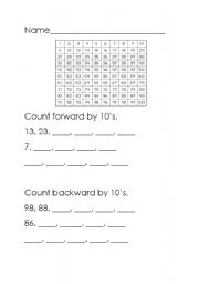 English worksheet: counting by 10´s