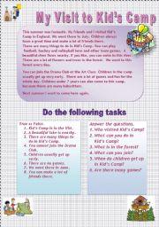 English Worksheets: MY VISIT TO KIDS� CAMP