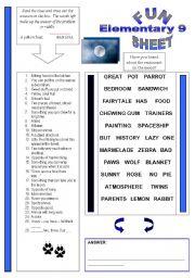 English Worksheets: Fun Sheet Elementary 9