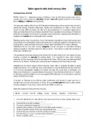 English Worksheet: Swiss agree to relax bank secrecy rules