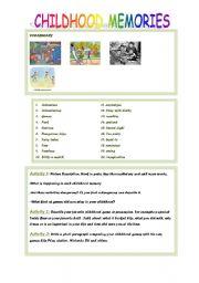 English Worksheets: CHILDHOOD MEMORIES