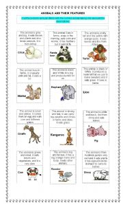 English Worksheets: Animals and their features