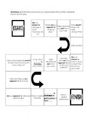 English Worksheet: permission and prohibition game