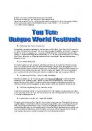 English Worksheets: ESL Festival Extravaganza (Reading, Writing, Conversational, Fun)