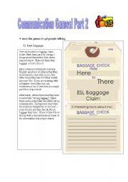 English Worksheets: Communication Games Part 2  - FUN