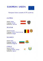 English Worksheet: European Union countries part 1