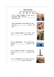 English Worksheets: World Records - Adjective Superlatives