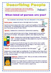 English Worksheet: Describing People - Useful Personality Adjectives (2 pages)