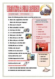 English Worksheet: WRITING A FILM REVIEW (GUIDELINE)