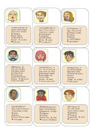 English Worksheets: Cards with personal information for oral work.