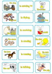 English Worksheet: ACTIONS - ANIMALS MEMORY CARDS part 1