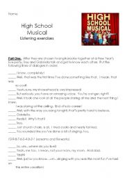 English Worksheet: High School Musical listen exercises