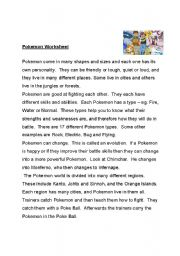 English Worksheet: Pokemon Reading Comprehension exercise