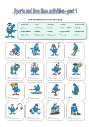 English Worksheet: Sports and Free Time Activities - part 1