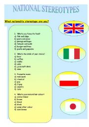 English Worksheet: NATIONAL  STEREOTYPES