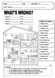 English Worksheet: home 2,rooms, where´s, colours, furniture, there´s