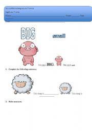 English Worksheets: Animals- size I