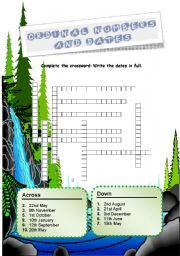 English Worksheet: Ordinal numbers and dates