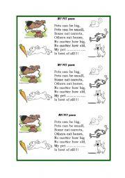 English Worksheets: My Pet poem