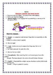 English Worksheet: poetry skills ( figurative language+ sound devices )