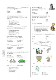 English Worksheet: test for grade 8 Turkish students for sbs exam