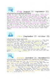 English worksheet: Zodiac Signs Part Two