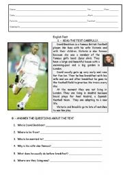 English Worksheet: David Beckham´s daily routine