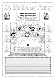 English Worksheet: SONG:  Happy Birthday  (and writting)