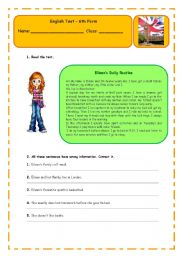 English Worksheet: Daily Routine test 6th form