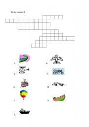 English Worksheet: transport - crossword