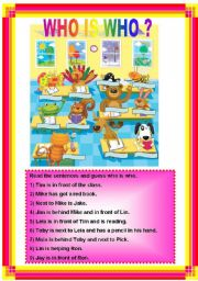English Worksheet: Who is who? with key