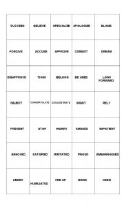 English Worksheet: Prepositional verbs for First Certificate- Bingo cards