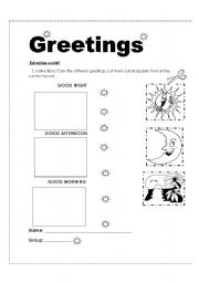 English Worksheets: Homework about greetings