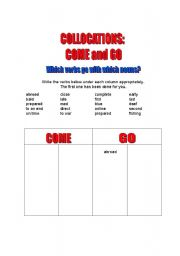 English worksheet: Collocations: COME - GO