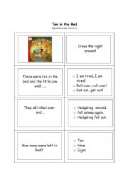 English Worksheets: Ten in the bed - Reading comprehension test