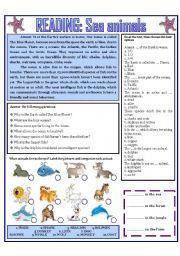 English Worksheets: READING: SEA ANIMALS