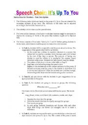 English worksheet: Speech Choir (Choral Reading) - It´s Up To You