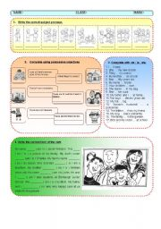 English Worksheet: Test on Subject Pronouns, Possessive Adjective, Verb