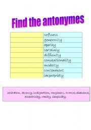 English Worksheets: FIND THE ANTONYMES- NOUNS! + KEY