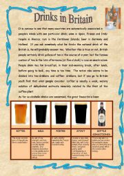 English Worksheet: Drinks in Britain - Reading comprehension + writing activity