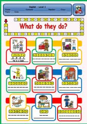 English Worksheet: WHAT DO THEY DO?  - PUZZLE