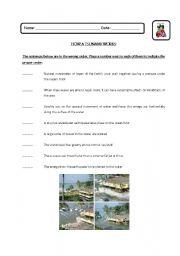English Worksheet: How a Tsunami works